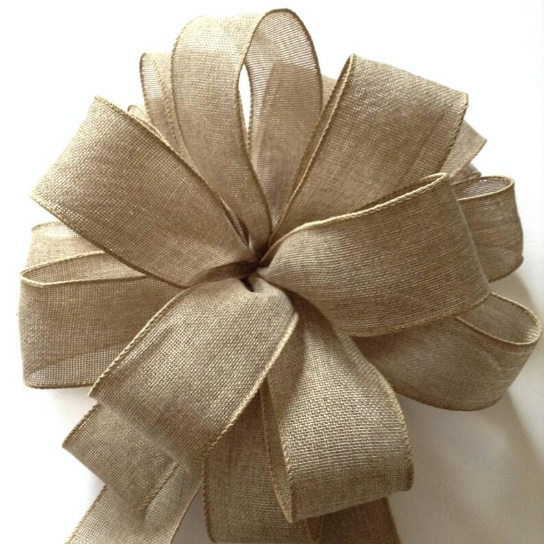 Christmas Tree Topper  Xmas Decorative Bow  Burlap Christmas Bow  Burlap Tree Topper  Burlap Christmas Tree Bow  Handmade