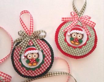 Owl Christmas Ornaments / Xmas whimsical Owl Ornaments / Felt Owl Ornaments / Set of 2 / Christmas Handmade Owl Ornaments