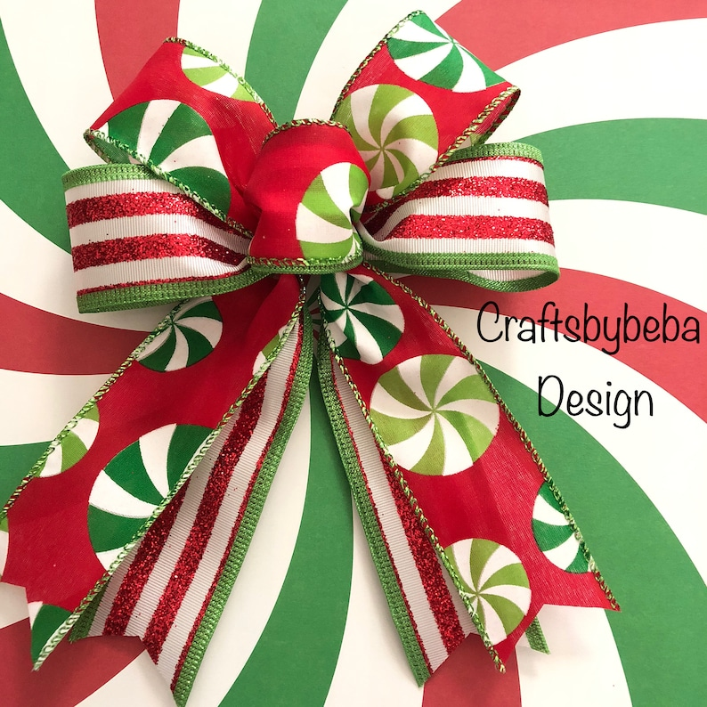 Christmas Peppermint Bows Candy Whimsical Decorative Bows Set Of 12 Bows Christmas Tree Bows Candy Christmas Bows Handmade