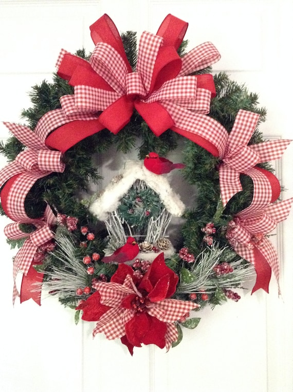 Christmas Wreath Xmas Door Hanger Red White Christmas Etsy