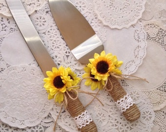 Wedding Cake Server and Knife Set / Sunflower Wedding Cake Cutter Cake Decoration / Burlap Wedding Cake Cutting Set