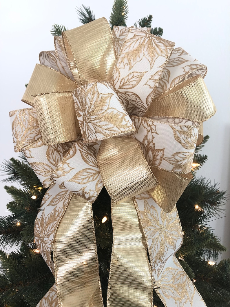 Gold Christmas Tree Topper Gold Christmas Decoration Tree Topper Christmas Tree Topper Poinsettia Gold Decorative Bow Poinsettia