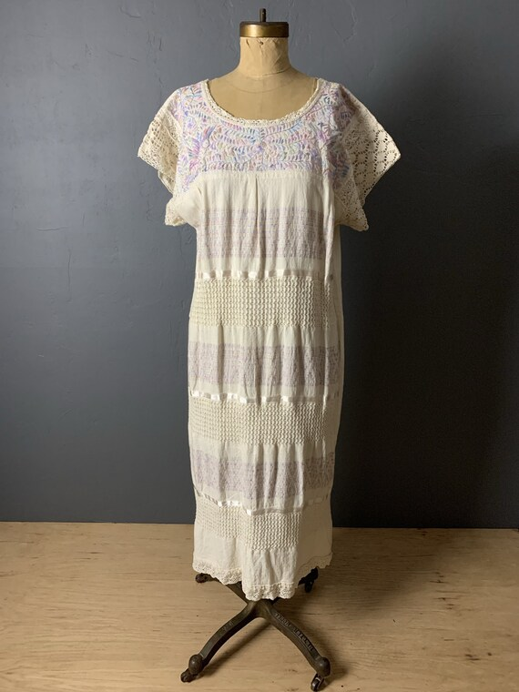 Pastel embroidered Mexican dress