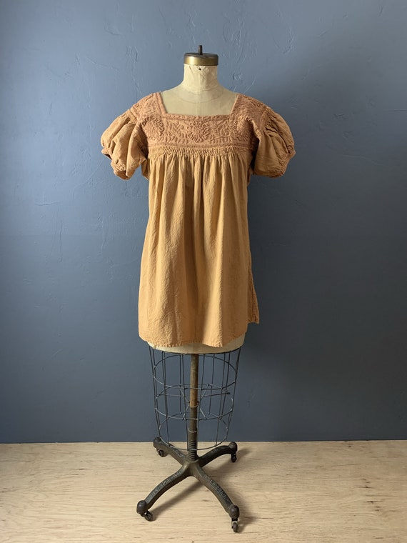 Overdyed mustard Mexican blouse