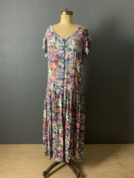 Indian rayon gauze floral dress