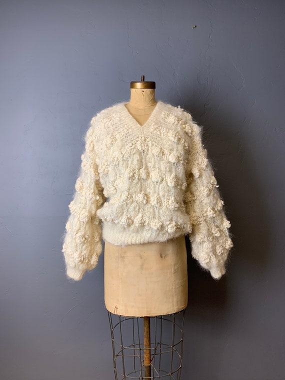 Wool popcorn puff sweater