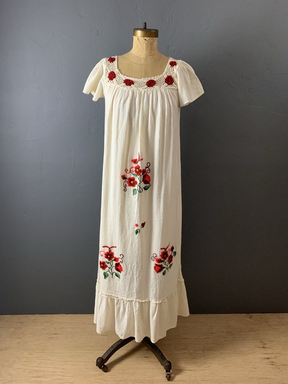 Gauze embroidered mexican dress