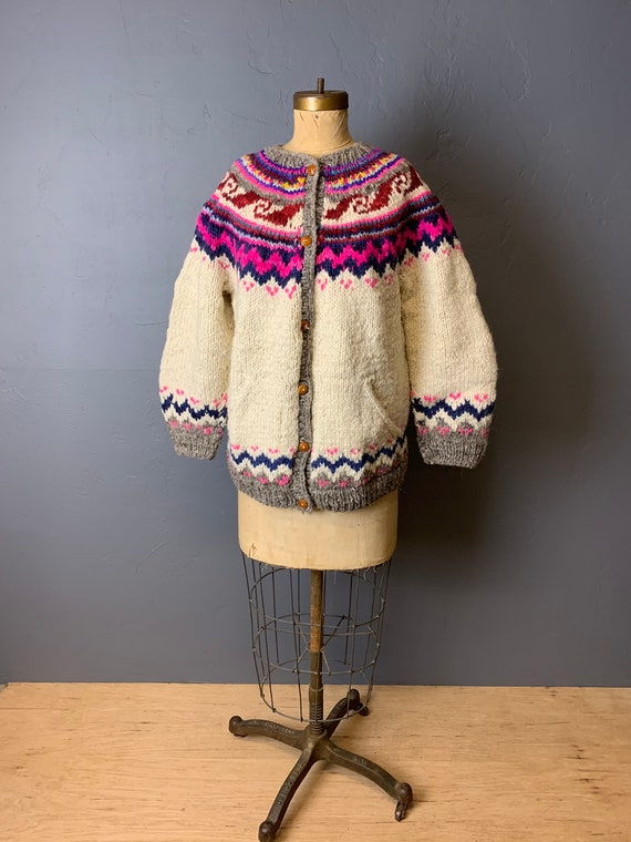 Bright fair isle wool cardigan