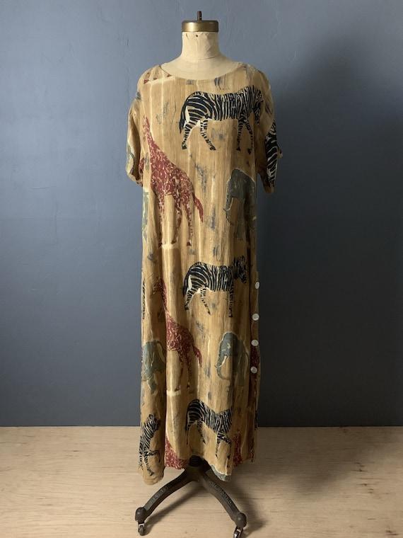 Indian crinkle gauze animal dress