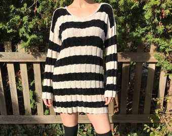 90's BERGDORF GOODMAN Designer Hand Loomed Long Sleeve Striped Tunic Mini Dress Size M