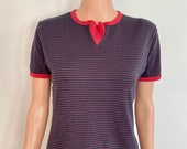 80 s Black and Red Striped Blue Moon Sailor Ringer T-shirt Tee Size Small Medium