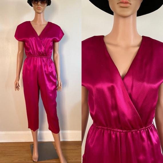 80's All That Jazz Magenta Hot Pink Satin Sateen J