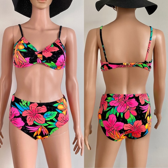 80's High Waisted Bright Tropical Floral Leopard P