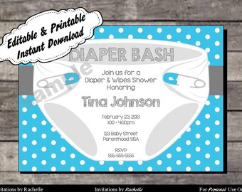 Diaper invitation etsy diaper invitation for baby shower or diaper bash blue editable printable digital file with instant download filmwisefo