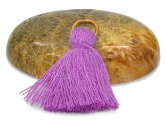 4 mini PomPoms 20mm purple cotton with rings
