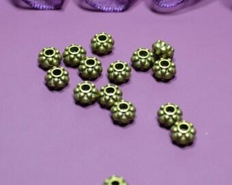 Set of 10 round beads bronze 06mm