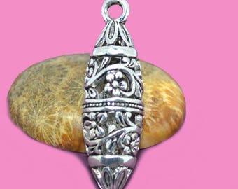 43x13mm silver filigree drop pendant