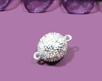round magnetic clasp with 20X15mm silver rhinestones