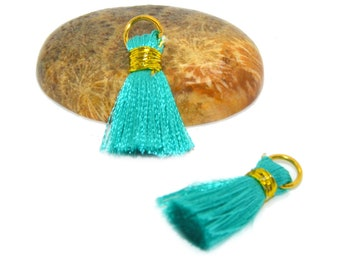 4 mini tassel 25mm with ring aqua colored rayon