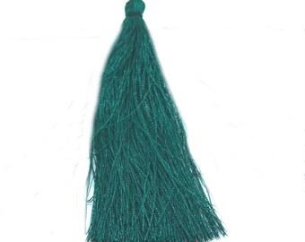 Large tassel 95mm imitation silk dark green