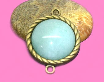 Green dyed jade 20mm flat back cabochon