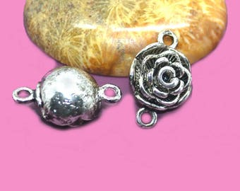 magnetic clasp pink 20 x 13 x 09 mm old silver brass