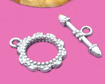 4 18mm silver color toggle clasps