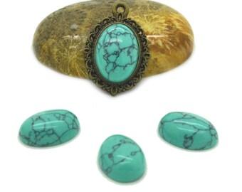 Cabochon gemstone 14 x 10 dyed howlite turquoise