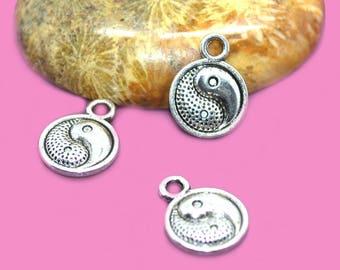 Ying yang 10mm silver charms