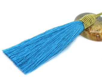 Large tassel 08cm turquoise polyester rope dish with gold