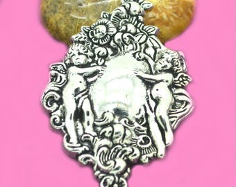 Large pendant baroque silver 67x38mm Angels