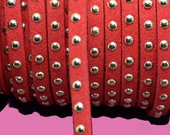 1 meter Ribbon suedine 4.5 mm studded gold