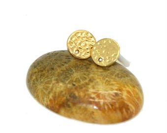 4 round studs earrings gold 13mm