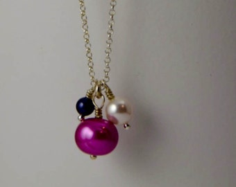 Pearl Mix Necklace - Delicate Sterling Silver Chain