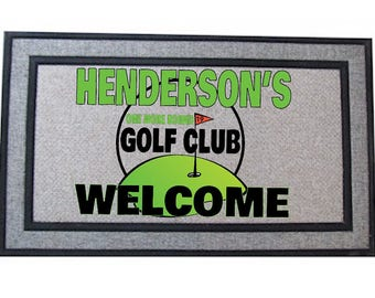 Personalized Golfers Door Mat | 19th Hole | Custom Doormat | Gift For Dad |  Man Cave Mat