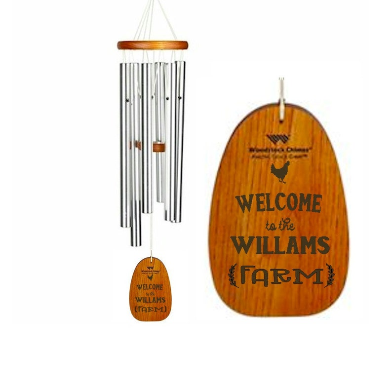 Welcome To The Farm Windchime - Housewarming Gift - Personalized Wind Chime  - Engraved Wind Chime - Country Home Decor - Free Shipping