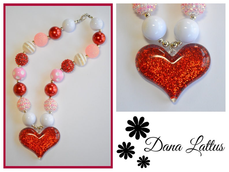 Red Glitter Heart Chunky Gumball Necklace