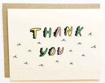 NEW - Surf's Up Thank You - Hand Drawn Greeting Card - Thank You