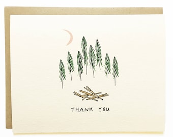 Thank You Forest - Hand Drawn Greeting Card - Thanks