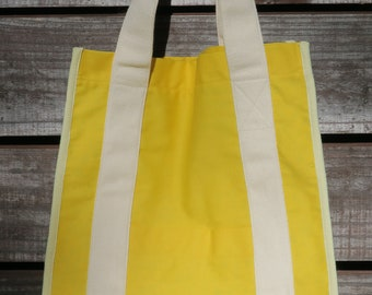 Golden Yellow with Yellow Floral Lining Washable Eco-friendly Grocery Tote