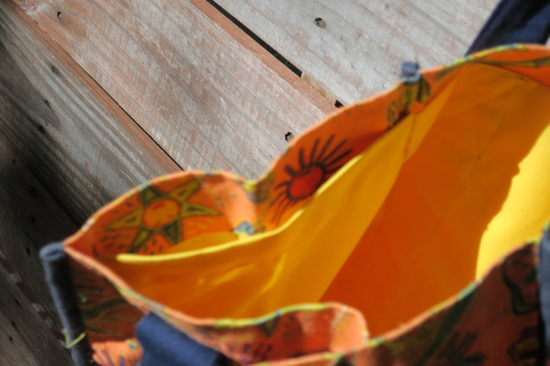 Washable Eco-friendly Grocery Tote Southwest Style with Yellow Lining