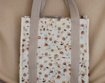 Washable Cotton Eco-friendly grocery tote, Tan Flowered with Brown lining