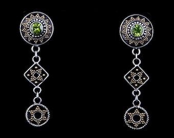 Rajastan 4 - Earrings - Sterling Silver and 24K Gold plating - Peridot