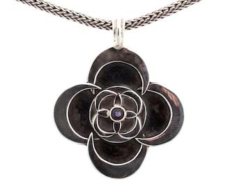 Kinetic #6/2 - Pendant - Sterling Silver - Iolite - Valentines - Valentines Day - Partner Gift -