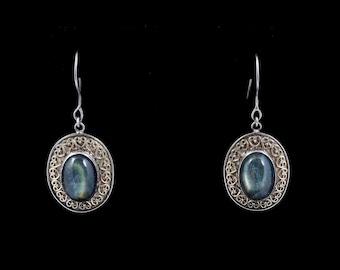 Labradorite 082 - Earrings - Sterling Silver & 24K Gold plating - Labradorite