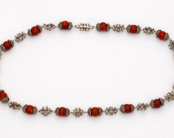Beads 3 - Necklace - Sterling Silver - Coral - Valentines - Valentines Day - Partner Gift