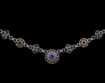 Rajastan 3 - Necklace - Sterling Silver and 24K Gold plating - Amethyst - Valentines - Valentines Day - Partner Gift