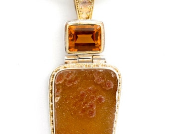 Druzy 3 - Pendant - Sterling Silver and 24K Gold plating - Citrine and Druzy Agate - Valentines - Valentines Day - Partner Gift -