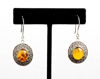 Amber 023 - Earrings - Sterling Silver & Amber
