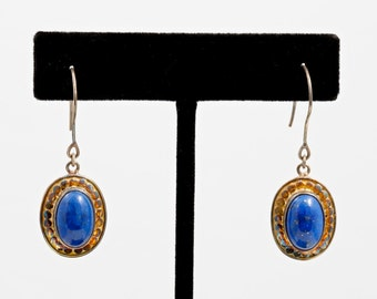 Lapis 183 - Earrings - Sterling Silver & 24K Gold Plating - Lapis Lazuli - Valentines - Valentines Day - Partner Gift